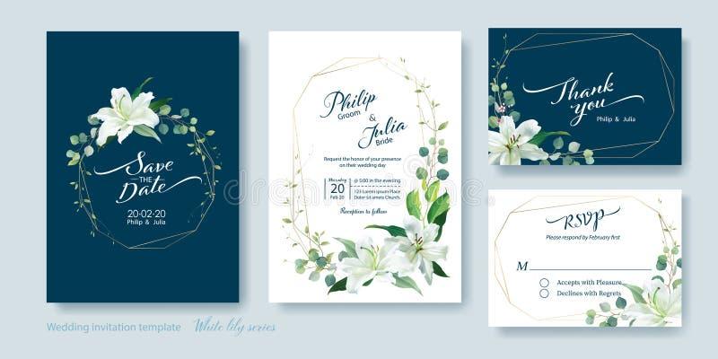 Spara datumet, tacka dig, rsvpmall, gifta sig inbjudankortet vektor Blomman f?r den vita liljan, f?rsilvrar dollarv?xten, olivgr? royaltyfri illustrationer