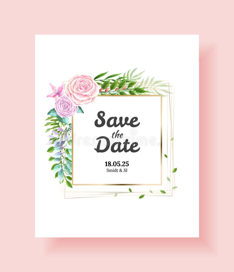 Spara datumet, tacka dig, rsvpmall, gifta sig inbjudankortet Vektorvattenfärgblommor, murgrönaväxter royaltyfri illustrationer