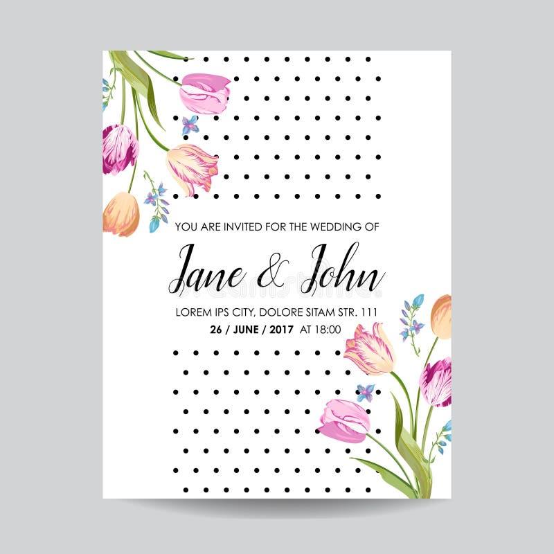 Spara datumhälsningkortet med blomningtulpanblommor Bröllopinbjudan, årsdagparti, blom- mall för RSVP royaltyfri illustrationer
