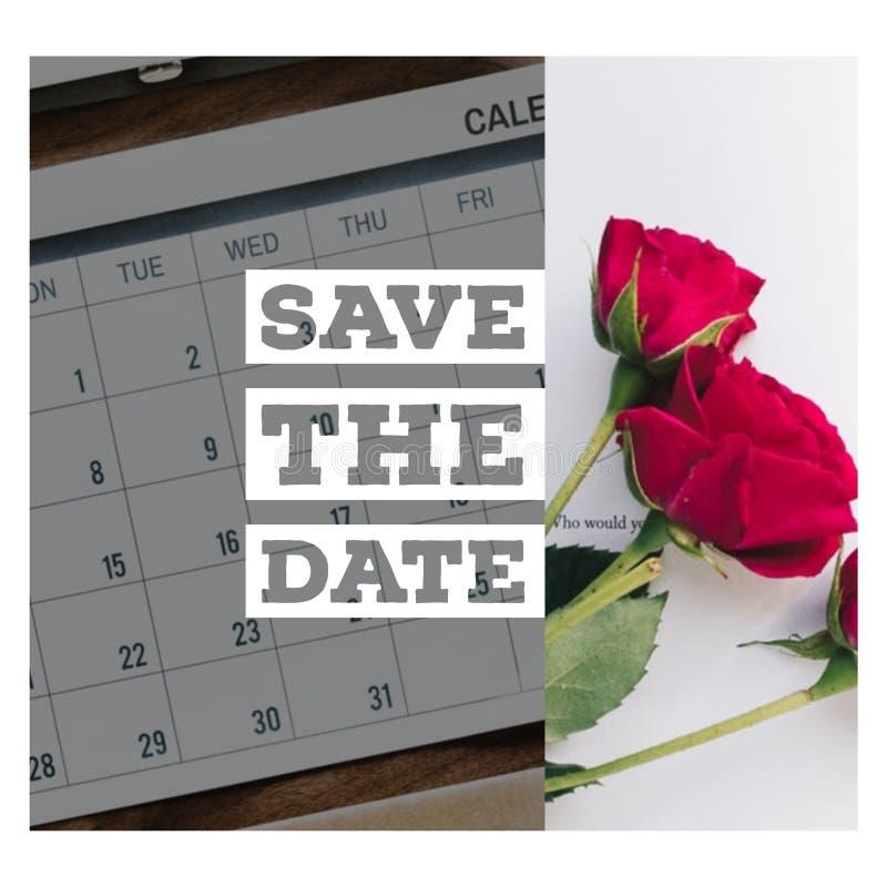 Spara datumkortdesignen arkivfoton