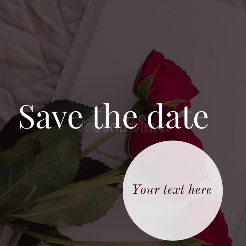 Spara datumkortdesignen royaltyfria bilder