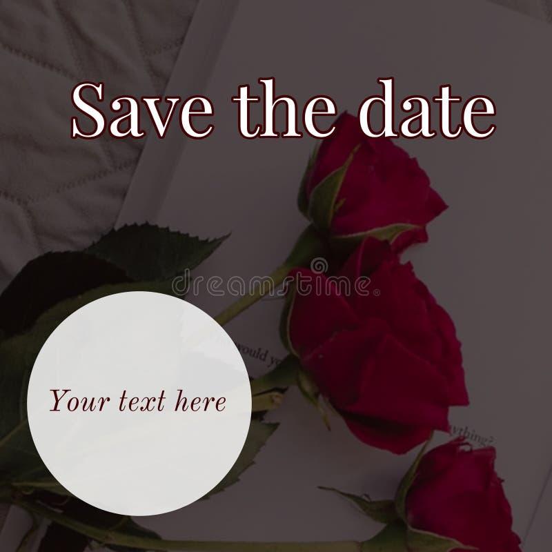 Spara datumkortdesignen arkivfoto