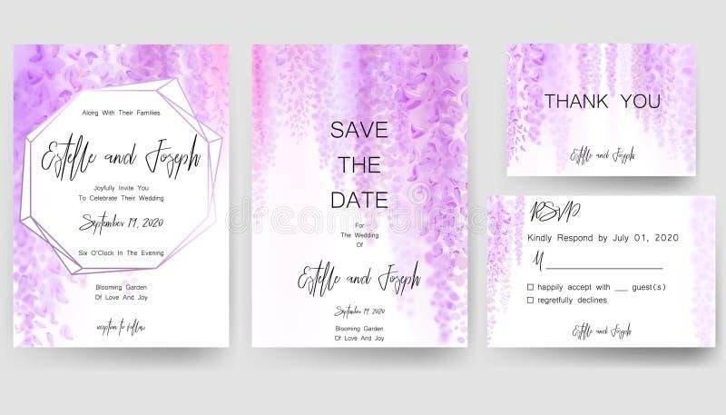 Spara datumkortet som gifta sig inbjudan, hälsningkortet med härliga blommor och bokstäver stock illustrationer