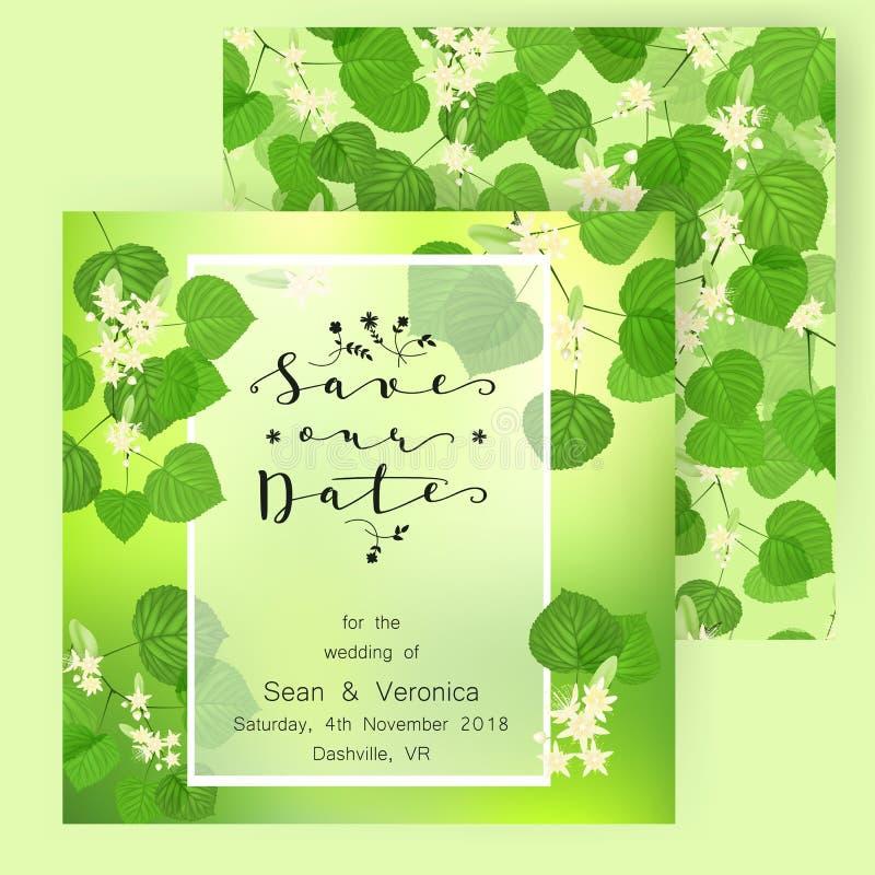 Spara datumkortet som gifta sig inbjudan på en träbakgrund och, märker ` för att spara datum`en, royaltyfri illustrationer