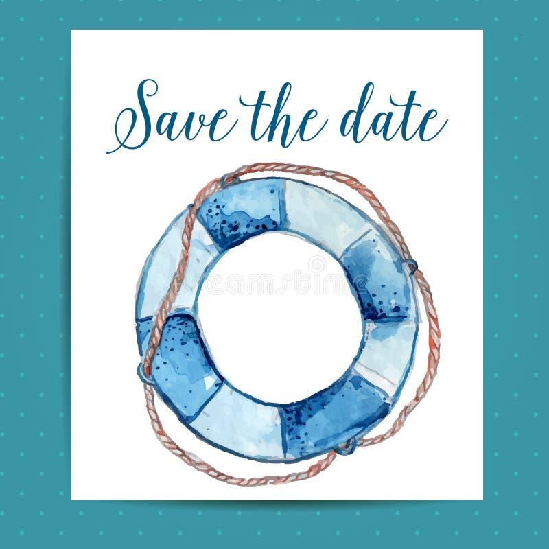 Spara datumkortorienteringen för nautiskt bröllop stock illustrationer