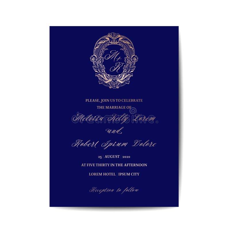 Spara datummallen, guld- foliedesign, gifta sig kortet för monogramtappninginbjudan royaltyfri illustrationer