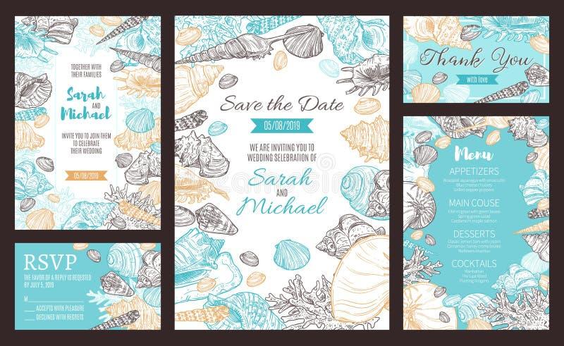 Spara datumpartiinbjudan som är marin- skissar menyn royaltyfri illustrationer