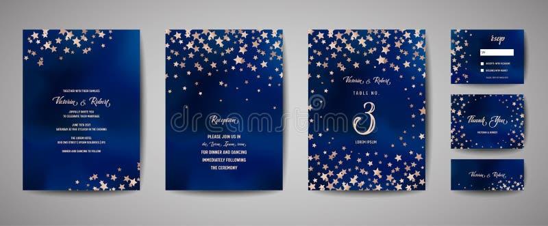 Spara datumvektorillustrationen med stjärnklar himmel för natten, den himmelska stjärnan för brölloppartiet royaltyfri illustrationer