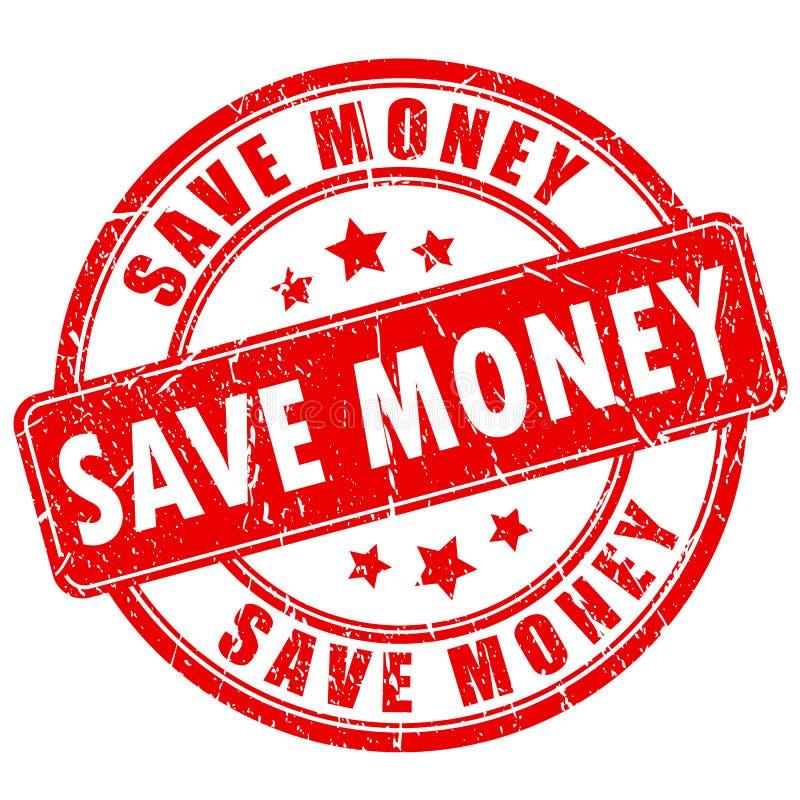 Spara den rubber stämpeln för pengar stock illustrationer