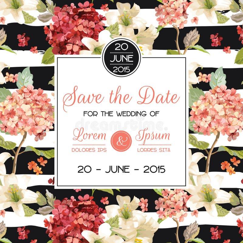 Spara det blom- kortet för för datumhösten och sommar i vattenfärgstil Tappning Hortensia Flowers vektor illustrationer