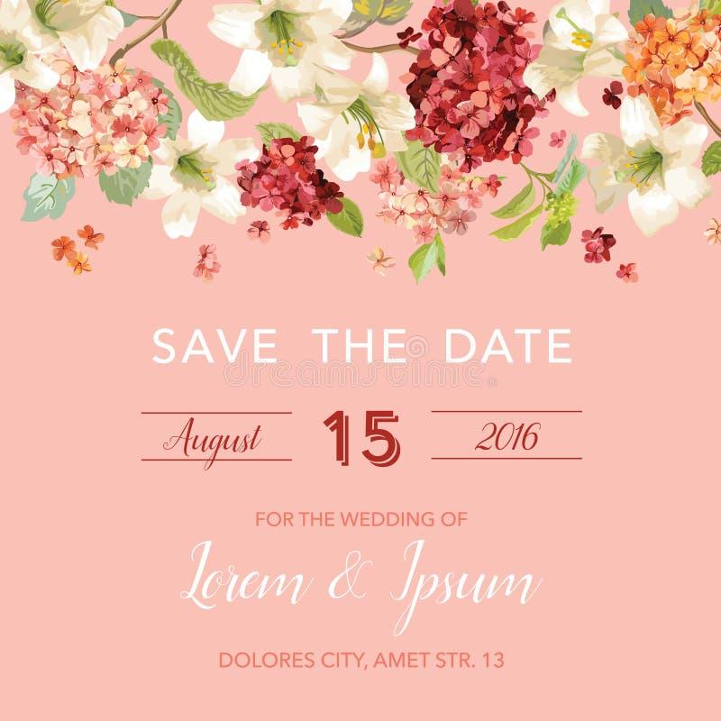 Spara det blom- kortet för för datumhösten och sommar i vattenfärgstil Tappning Hortensia Flowers royaltyfri illustrationer