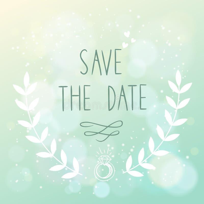 Spara det eleganta bröllopkortet för datumet med blom- ele royaltyfri illustrationer