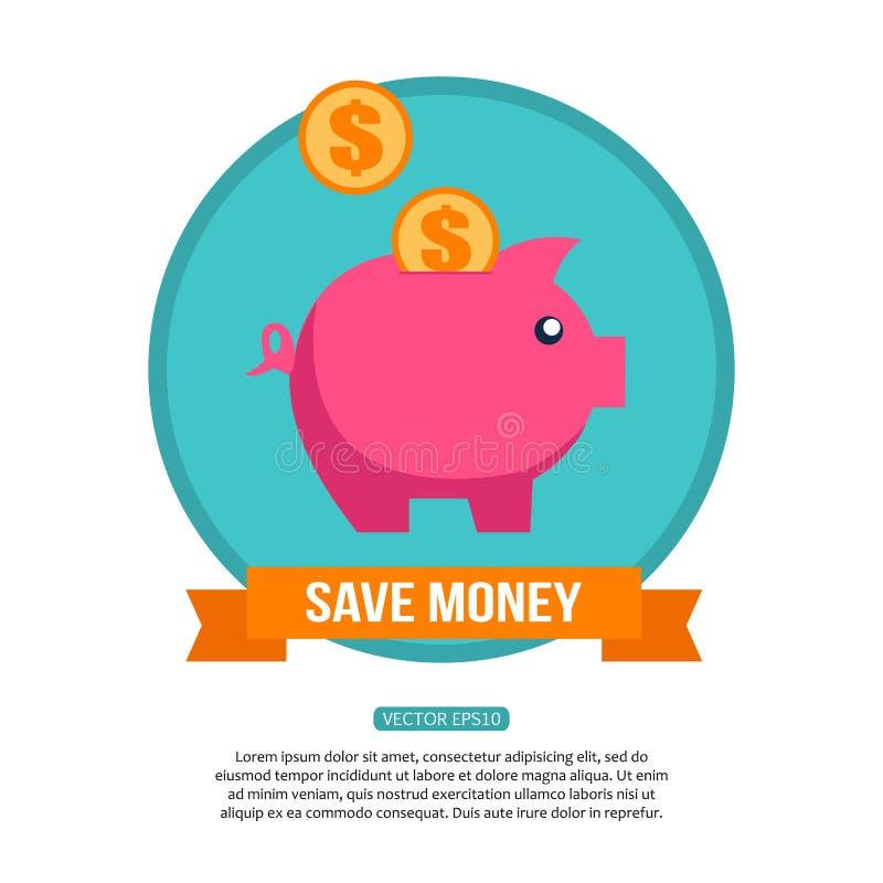Spara det finansiella begreppet för pengar Plan design royaltyfri illustrationer