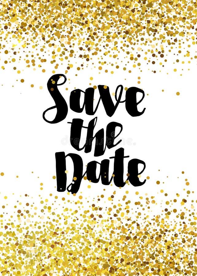 Spara det guld- datumet blänker bröllopinbjudanmallen stock illustrationer