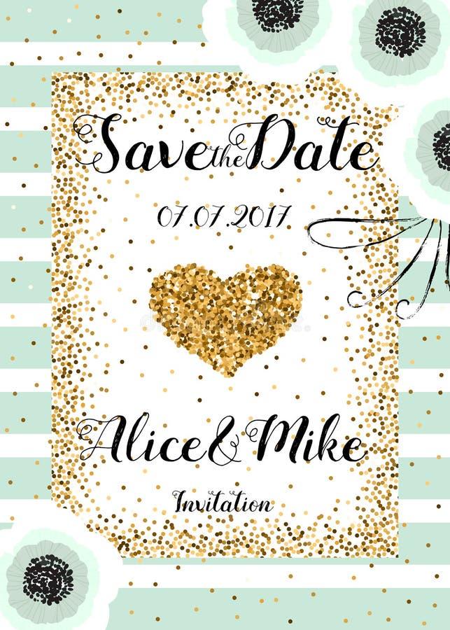 Spara det guld- datumet blänker bröllopinbjudanmallen vektor illustrationer