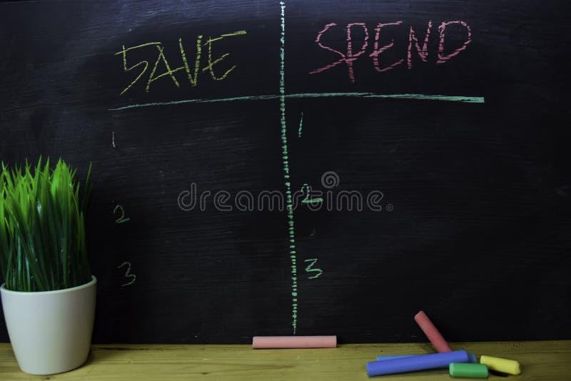 Spara eller spendera skriftligt med färgkritabegrepp på svart tavla royaltyfria foton