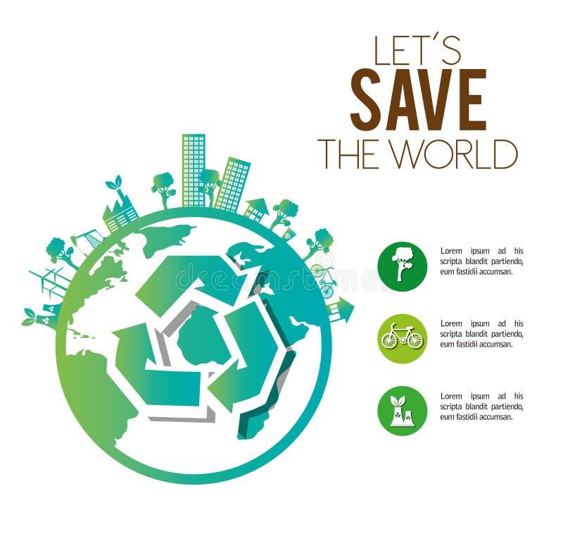 spara för fabriksekologi för världen den stads- industriella designen royaltyfri illustrationer