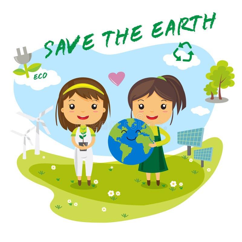 Spara jorden - räddningvärld royaltyfri illustrationer