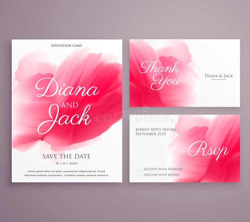 spara kortet för datumbröllopinbjudan med målarfärgslaglängden på backg vektor illustrationer