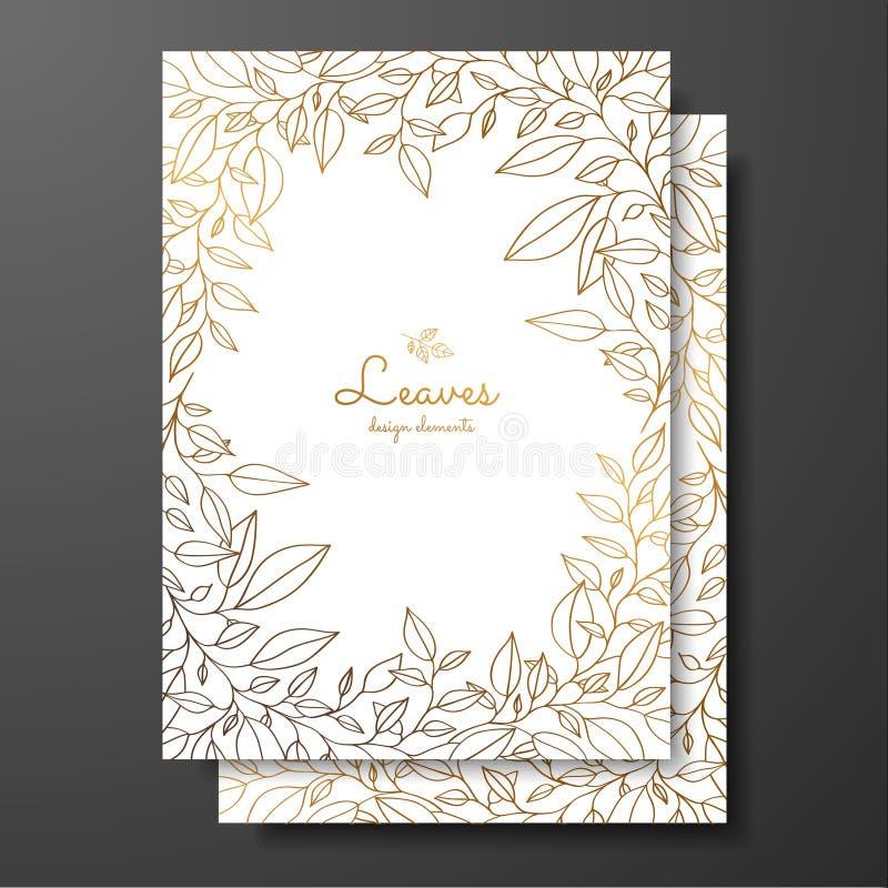 Spara mallen för inbjudan för bröllop för datumkortet Designmall med kransen av sidor Guld- kortmall för hälsningkortet, postc royaltyfri illustrationer