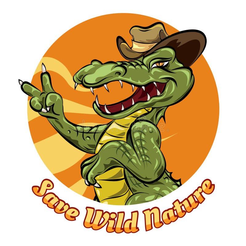 Spara naturlogodesignen med alligatorn stock illustrationer
