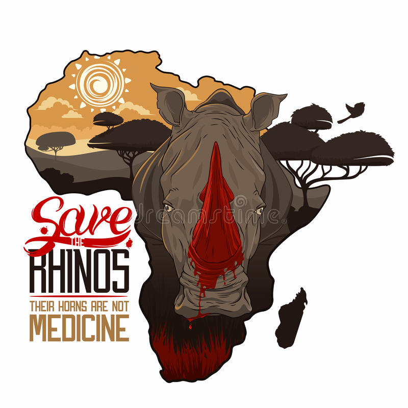 Spara noshörningarna stock illustrationer
