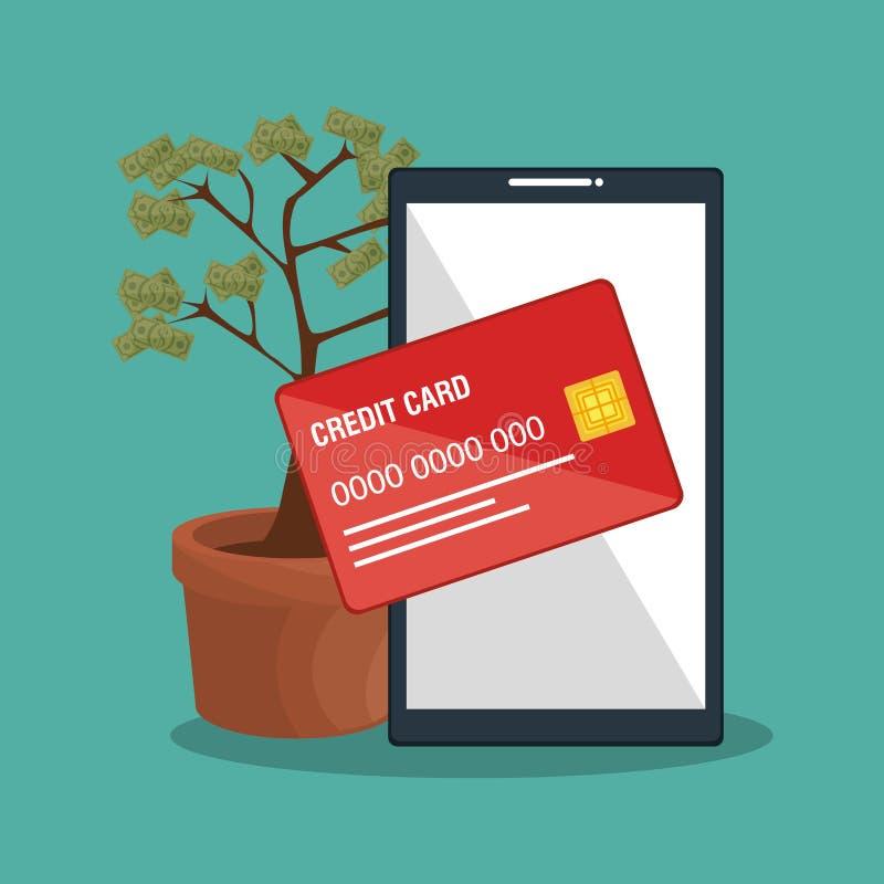 Spara pengar på linje med smartphonen royaltyfri illustrationer