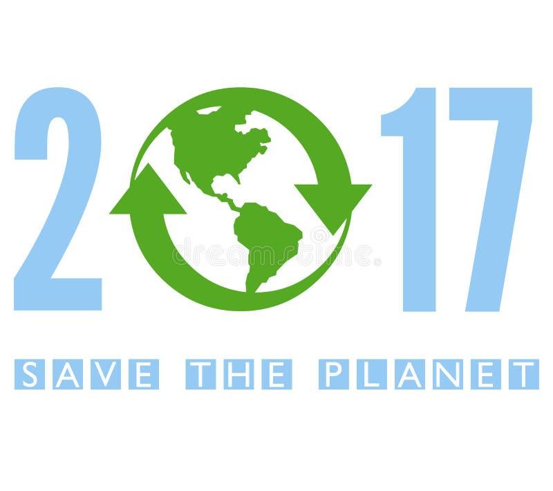 Spara planeten 2017 stock illustrationer