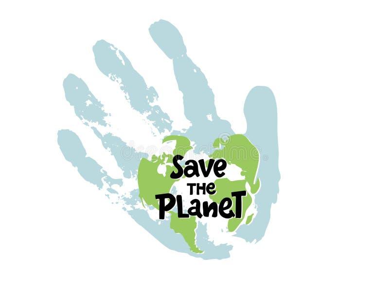 Spara planeten, skydda vår planet, ecoekologi, klimatförändringar, jorddagen April 22, gömma i handflatan planeten med handen och royaltyfri illustrationer
