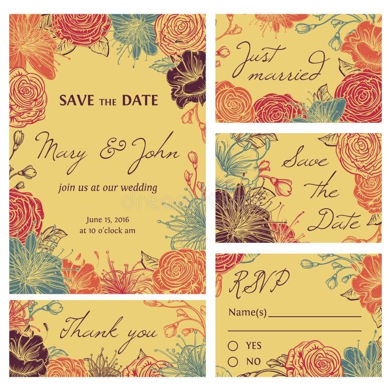Spara samlingen för datumkortet med blommor Bröllopinbjudan, tacka dig att card, sparar datumkorten, RSVP-kort stock illustrationer