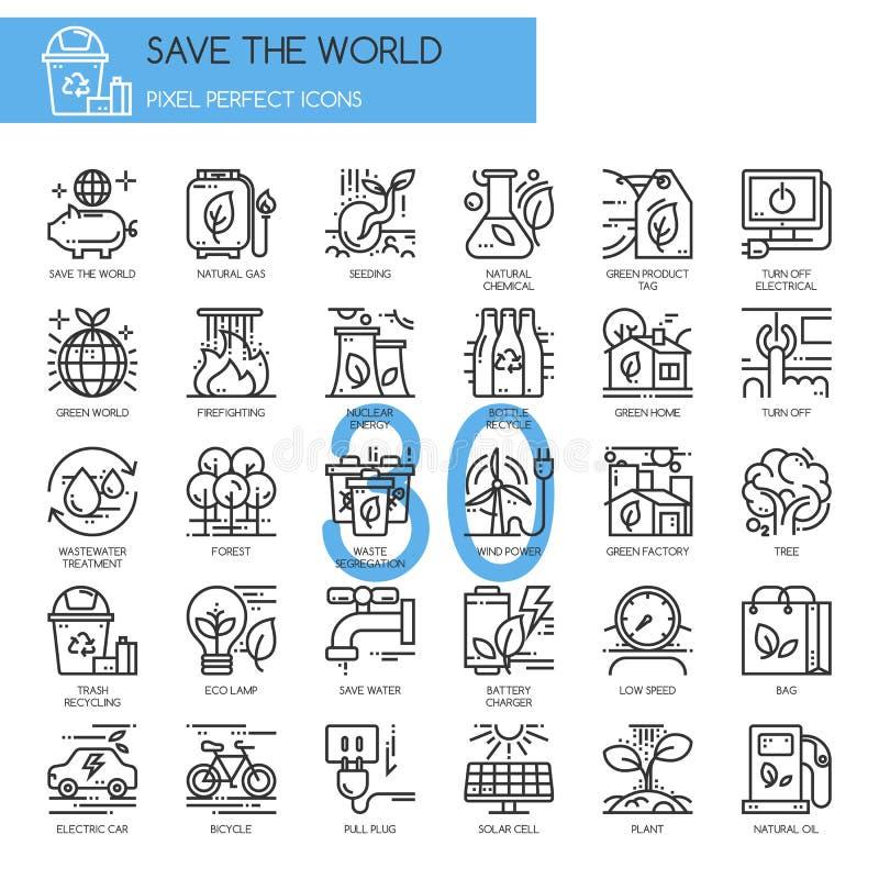 Spara världen, den tunna linjen symboler ställer in vektor illustrationer
