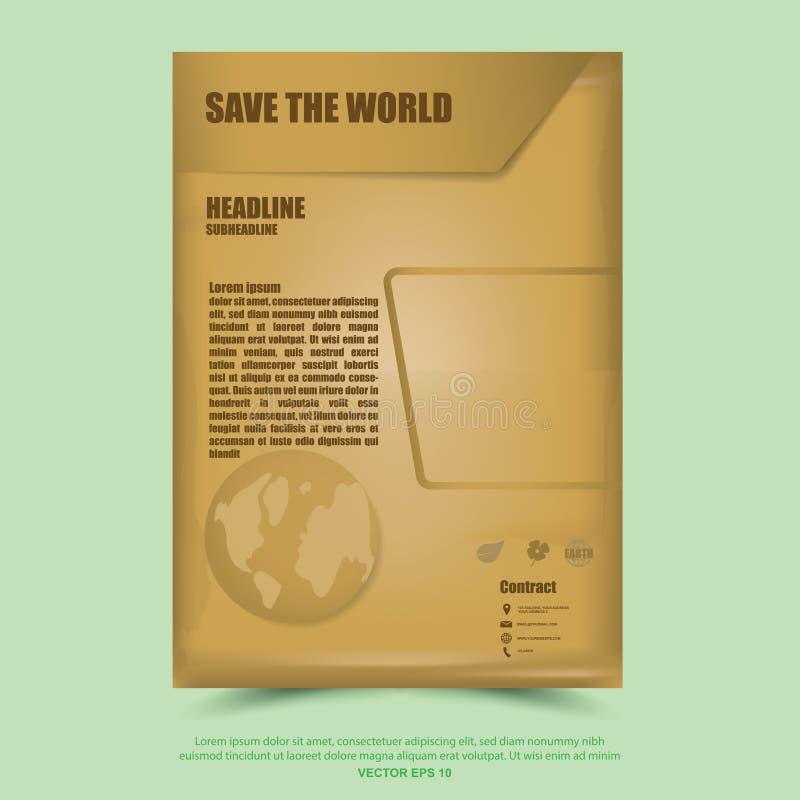 Spara världsaffischen, banret, broschyrdesignmall stock illustrationer