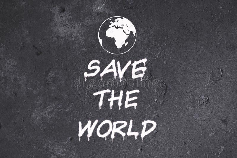 Spara världsgrafitti på grungeväggen vektor illustrationer