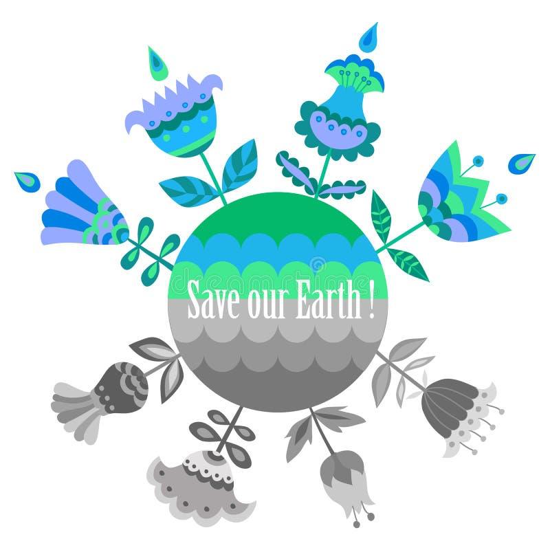 Spara våra jordblått och göra grön affischmallen stock illustrationer