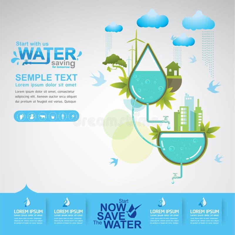 Spara vattenvektorvattnet är liv stock illustrationer