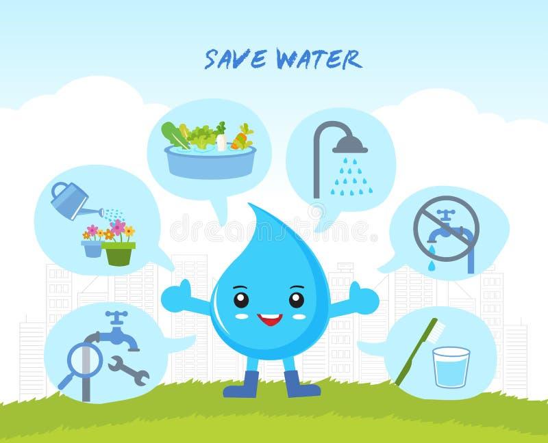 Spara vattnet som är infographic royaltyfri illustrationer