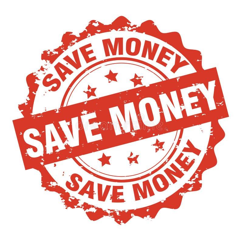Spara vektorn för den rubber stämpeln för pengar vektor illustrationer