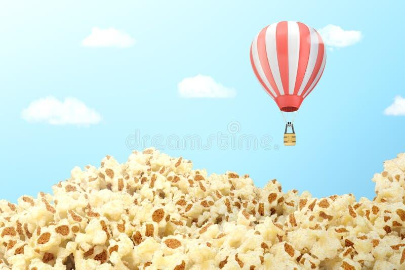 sparad tolkning 3d av täckt med popcorn med en randig ballong för varm luft som flyger ovanför den royaltyfri illustrationer