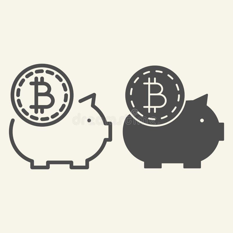 Sparande crypto pengarlinje och skårasymbol Illustration för Bitcoin spargrisvektor som isoleras på vit Crypto mynt och svin royaltyfri illustrationer