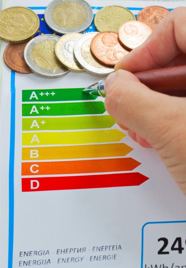 Sparande energieffektivitet för pengar tack vare arkivfoton