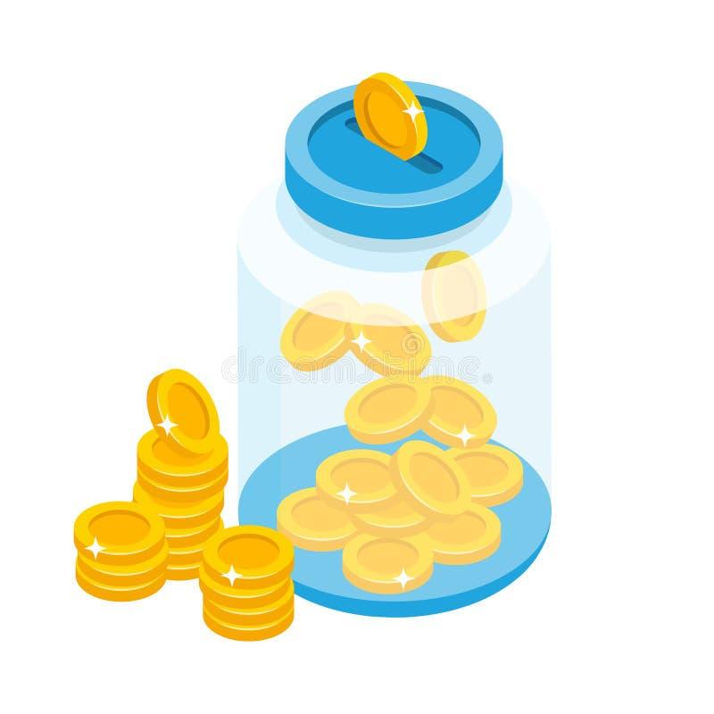 Sparande mynt i illustration för krusbegreppsvektor i isometrisk design utformar Isometrisk vektorillustration för Glass bank royaltyfri illustrationer