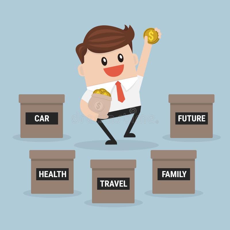Sparande pengar för affärsman för familj, hälsa, lopp, bil och framtid stock illustrationer