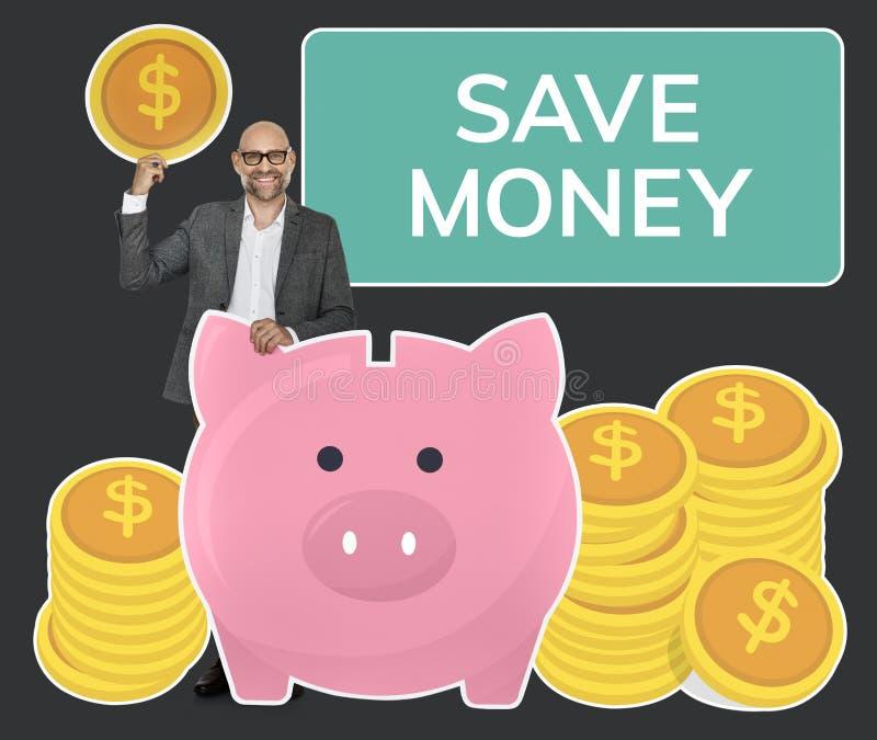Sparande pengar för affärsman i en spargris arkivbilder