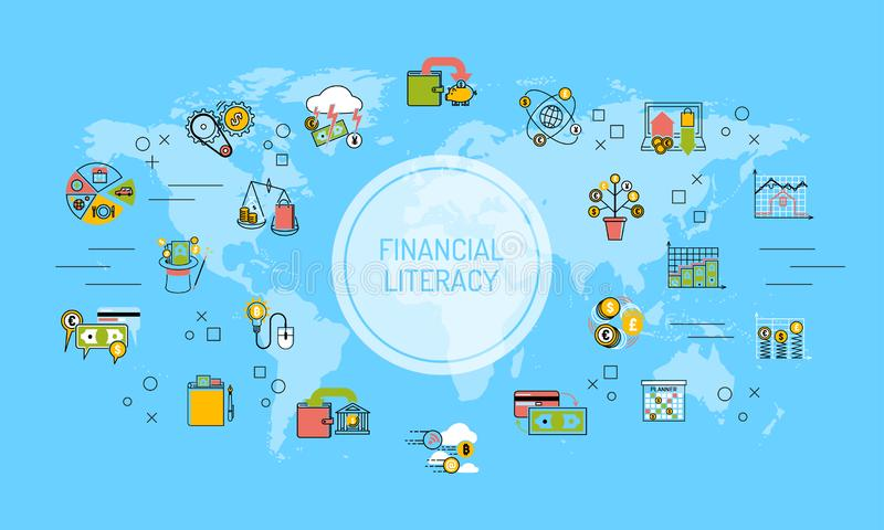 Sparande pengar för finansiell läs-och skrivkunnighetvärldskartabakgrund för illustration för utbildningsbegreppsvektor Översikts vektor illustrationer