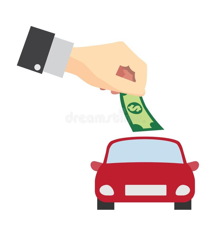 Sparande pengar för vektor för köpbilbegrepp planlägger stock illustrationer