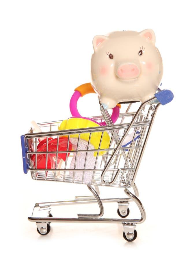 Sparande pengar på ditt behandla som ett barn shopping royaltyfri fotografi