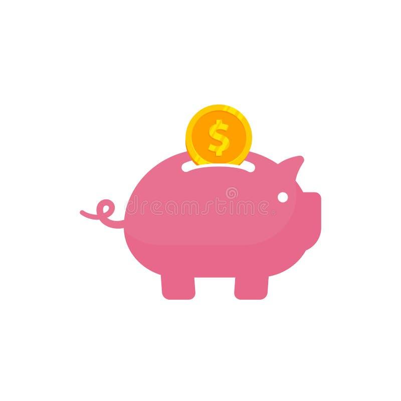 Sparande pengar in till illustrationen för spargrisvektorsymbol Sparande design för pengarsymbolssymbol stock illustrationer