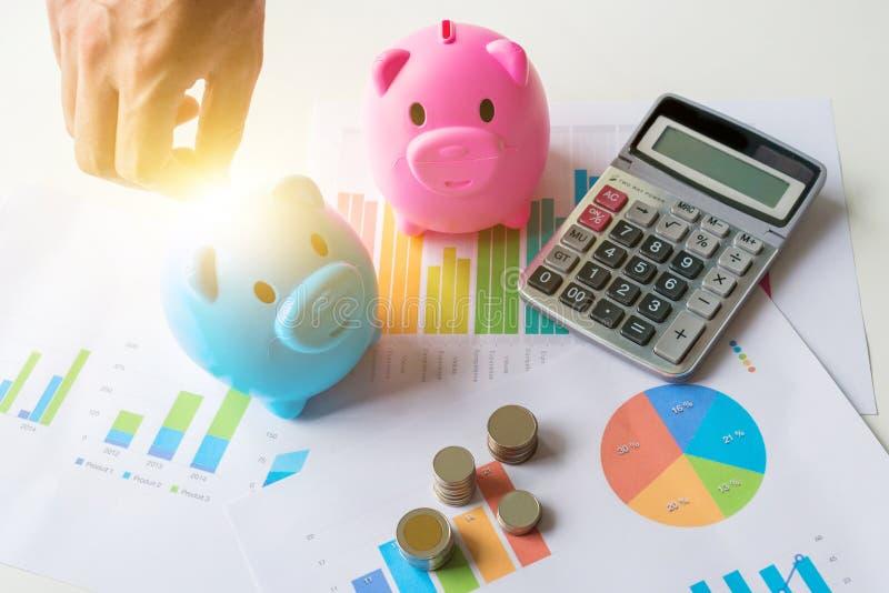 Sparande pengarbegrepp med den blåa och rosa spargrisen royaltyfri foto