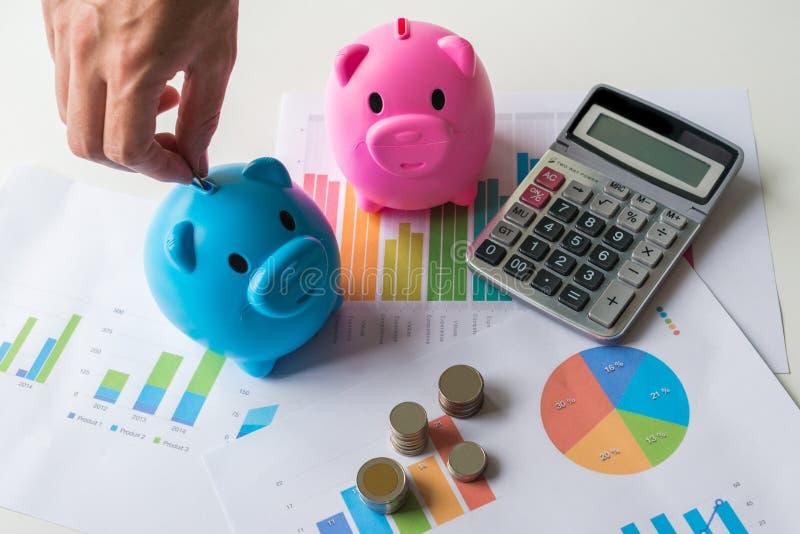 Sparande pengarbegrepp med den blåa och rosa spargrisen med räknemaskinen arkivbild
