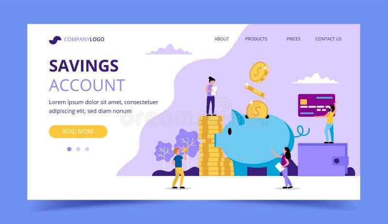 Sparande pengarlandningsida - illustration med litet folk som gör olika uppgifter, spargris, plånbok, kreditkort vektor illustrationer